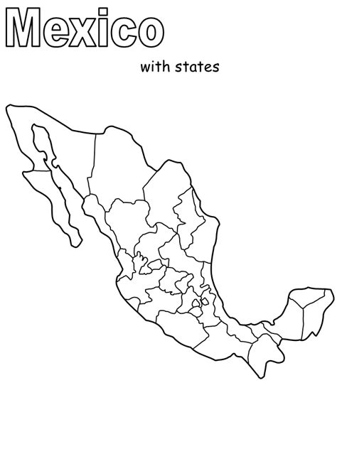 coloring page mexico map printable mexico map2 countries coloring pages
