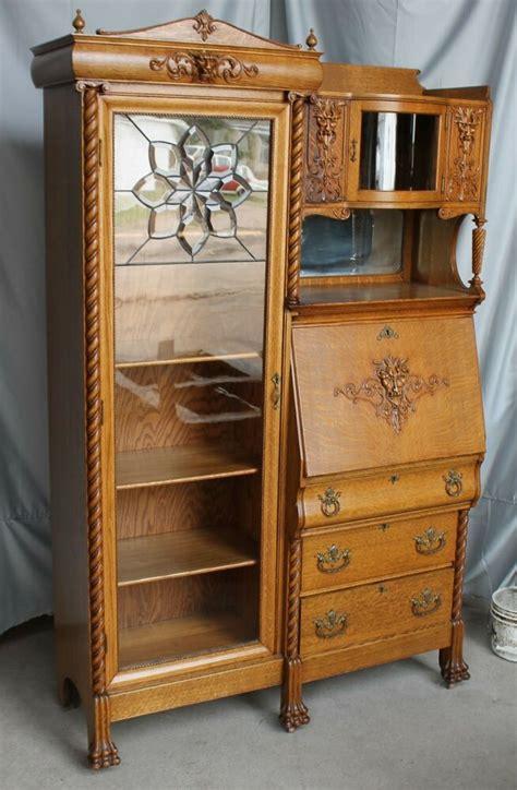 antique oak side by side bookcase desk with