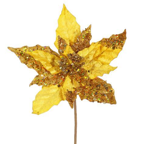 hessian gold poinsettia picks 10 inch velvet and sequin poinsettia gold p125308