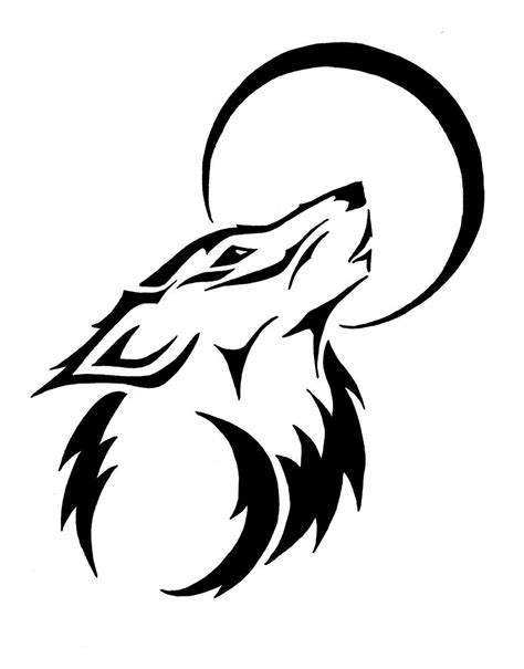 tribal wolf and moon tattoo tribal howling wolf by trainspotter90 on deviantart