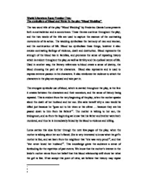 Symbolism In Poetry Essay by World Literature Essay Number Two The Symbolism Of Blood And Water In The Play Quot Blood Wedding