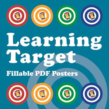 printable learning targets learning target fillable pdf posters posts colors and