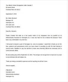2 weeks notice template resignation letter 2 weeks notice template cover letter