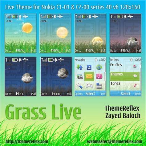 themes nokia mobile c1 grass live theme for nokia c1 01 c2 00 themereflex