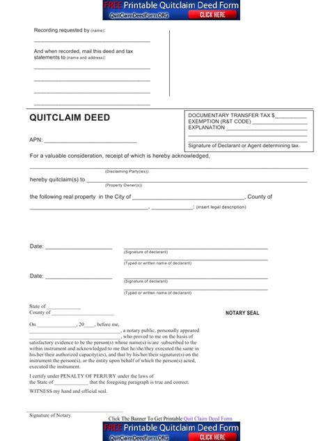 quitclaim deed quit claim deed form free quit claim deed template with