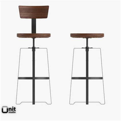 West Elm Industrial Stool by Rustic Industrial Stool By West Elm 3d Model Max Obj 3ds