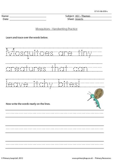 printable english worksheets for ks1 mosquitoes handwriting practice primaryleap co uk