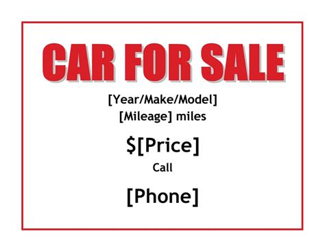 car for sale sign template car for sale template beepmunk