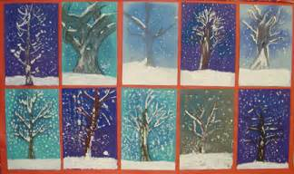 winter wonderland covered trees art lesson plan painting