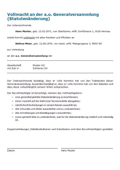 Muster Einladung Gründungsversammlung Verein Vollmacht Ausserordentliche Generalversammlung Muster Zum