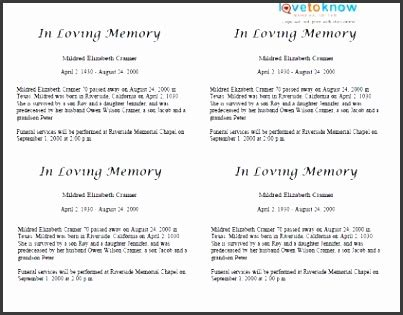 4 Editable Obituary Template Sletemplatess Sletemplatess Free Editable Obituary Template