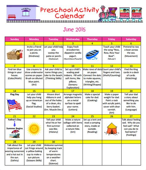 9 Sle Preschool Calendar Templates To Download Sle Templates Preschool Printable Activities Template