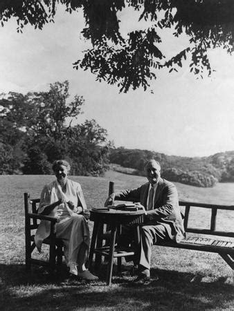 Franklin and Eleanor Roosevelt on the South Lawn at Hyde