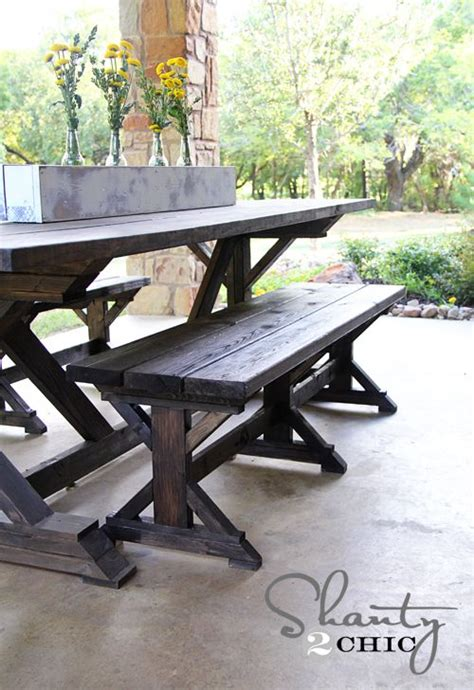 ana white picnic table bench ana white build a fancy x farmhouse bench free and