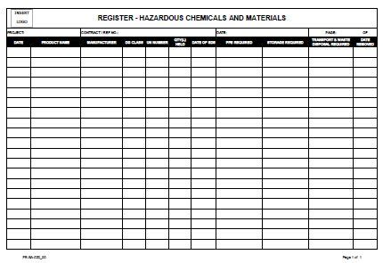 Hazardous Substance Register Template by Register Hazardous Chemical And Materials Allsafety