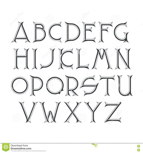 Decorative Serif Font by Beveled Illustrations Vector Stock Images