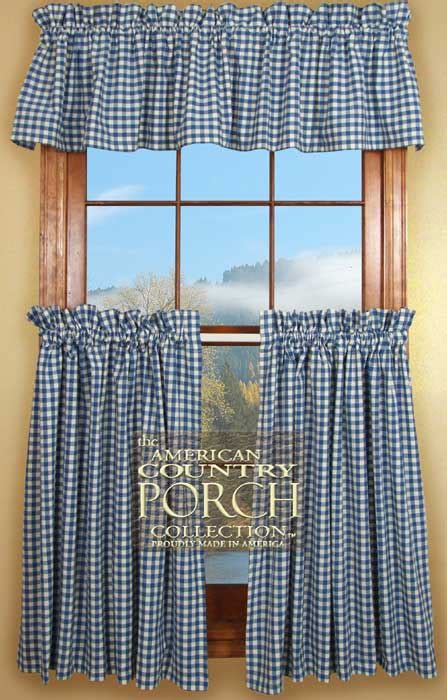blue and white checkered curtains cottage blue check curtain valances