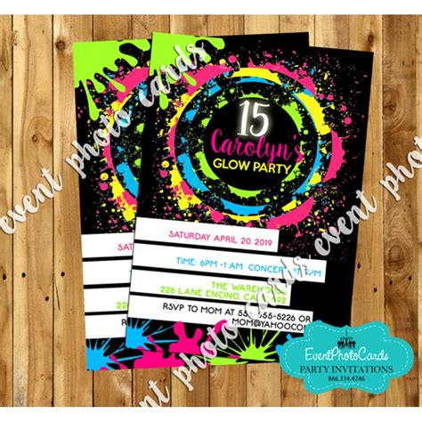 black light party invitations neon glow sweet fifteen invites quinceanera birthday