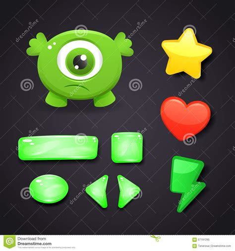 game design resources interface icons set for game design with monster stock