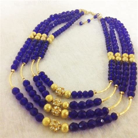 akuchi beaded cobalt blue and gold statement necklace