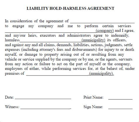 Release And Hold Harmless Letter hold harmless agreement hold harmless agreement form