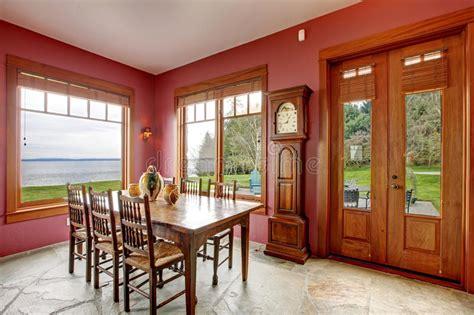 burgundy dining room burgundy dining room with antique clock royalty free stock