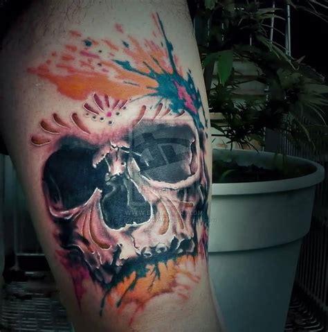 watercolor skull tattoo watercolor realistic skull golfian