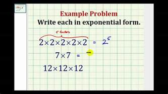 exle write repeated multiplication in exponential form