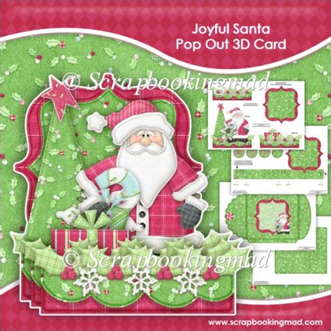 How To Make A 3d Santa Out Of Paper - joyfal santa pop out 3d card envelope 163 1 00 instant