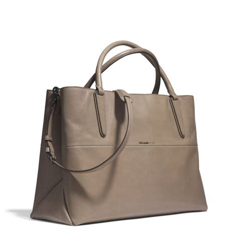 coach large soft borough bag in nappa leather in gray lyst