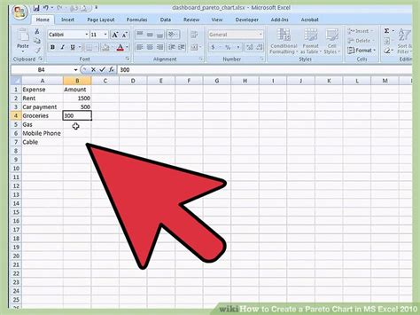 Pareto Chart Template Excel 2010 by How To Create A Pareto Chart In Ms Excel 2010 14 Steps