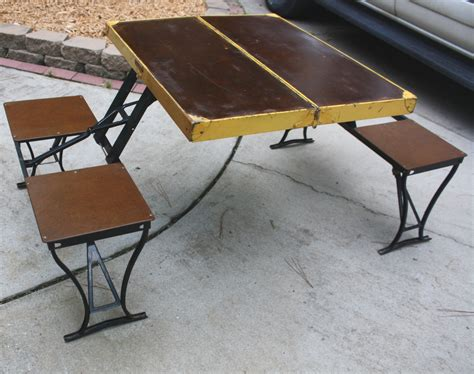 folding picnic bench table old and vintage makeover portable outdoor picnic table