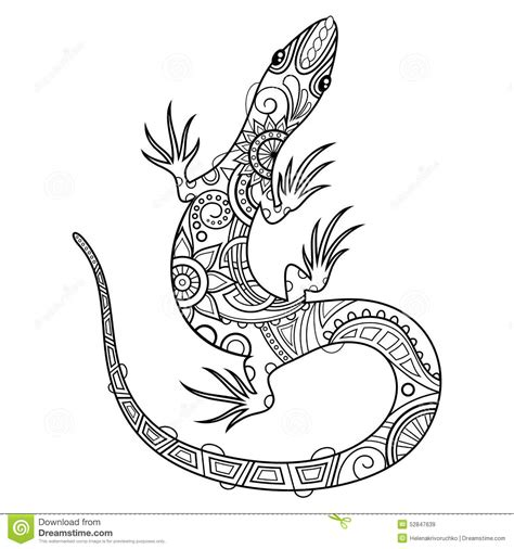 vector tribal decorative lizard stock vector