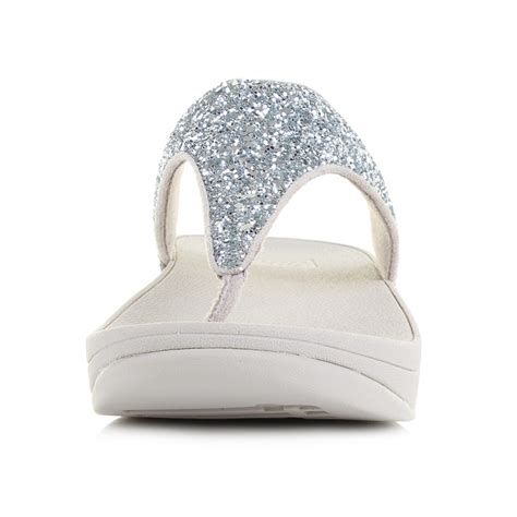 Sandal Wedges Terlaris New Fitflop Glitter womens fitflop glitterball silver low wedge flip flop sandals shu size ebay