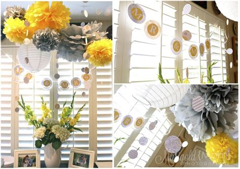 yellow decor yellow and grey bridal shower hello brielle
