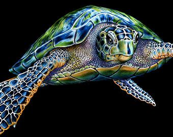 Sea Turtle Home Decor by Sea Turtle Drawing Etsy