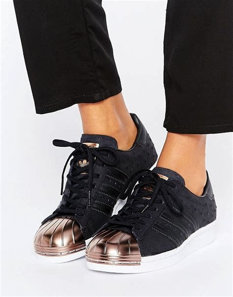 Original Made In Indonesia Adidas Superstar Rosegold adidas originals adidas originals black metallic superstar trainers with gold toe cap