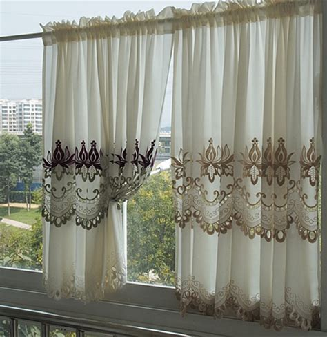 american kitchen curtains american classical embroidery flower half curtain gauze