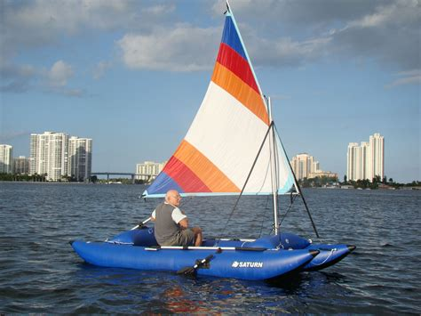 catamaran sailing dinghy 14 inflatable sail catamaran portable sail boat in a bag