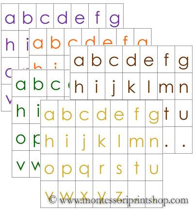 printable montessori alphabet letters alphabet letters 5 colors printable montessori language