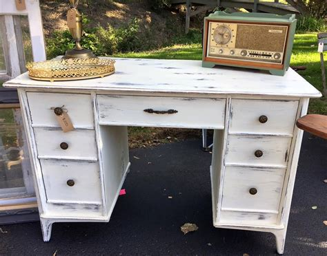 shabby chic distressed white desk