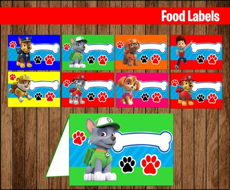 paw food paw patrol food labels printable paw patrol food tent cards