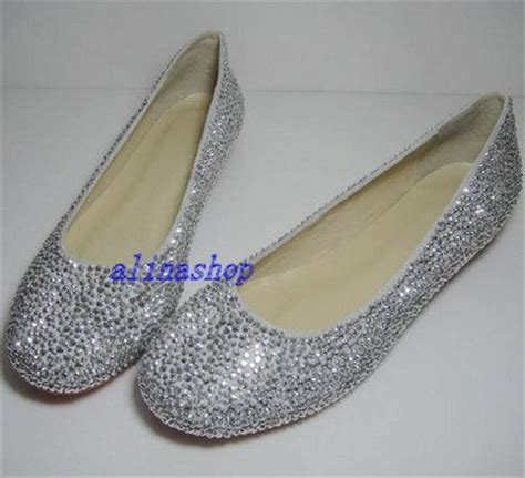 flat wedding shoes with bling sliver crystals flat shoes bling flat wedding by