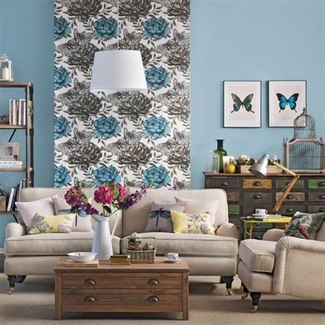 living room  floral wallpaper feature wall