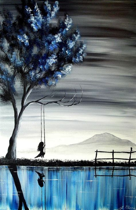 girl on a swing painting the girl on the swing ii original acrylic vertical