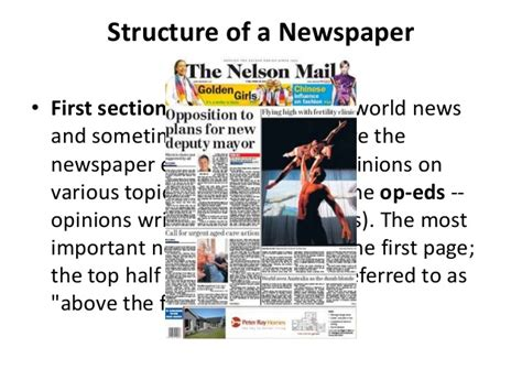 sections of the newspaper structure of contemporary newspaper