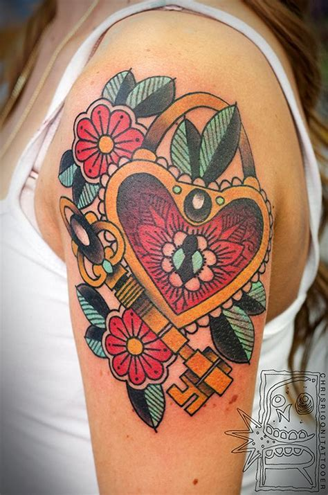 traditional heart lock and key tattoos traditional 1