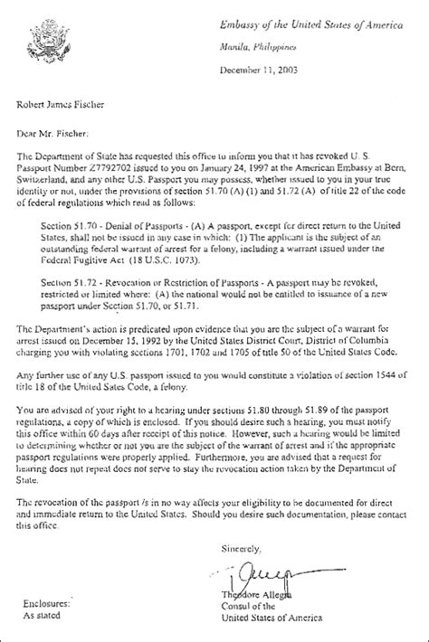 Embassy Letter For Passport Embassy Of The United States Of America Us Passport Revoked