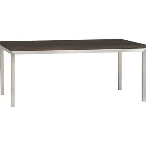 Steel Base Dining Table Myrtle Top Stainless Steel Base 72x42 Parsons Dining Table In Dining Tables Crate And Barrel