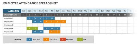 employee attendance calendar sheet excel template  printable calendar